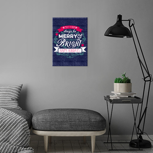 May Your Days Be Merry & Bright Christmas Typography Metal Print