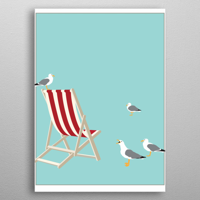 BEACH CHAIR poster. Illustration in the style of Tom Purvis. metal poster