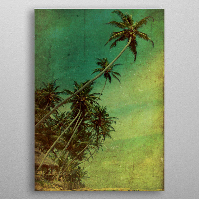 You are looking at Galle beach, on the southern coast of the island. This beach was one of the coastlines hit by the tsunami of 2004. To give... metal poster