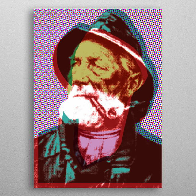 """Pop Fisherman 1/4"" by Christoffer Dupont (2008) A tribute to Warhol, Lichtenstein and the old mass produced oil painting of the fisherman with his beloved pipe. metal poster"