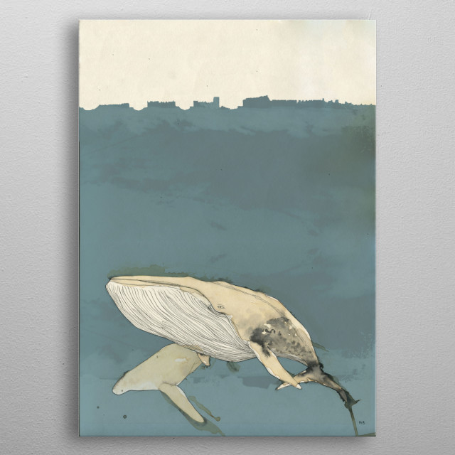 Whales are awesome. Painted with coffee and ink. Blue color added later. metal poster