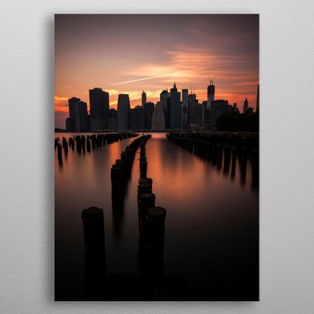 Manhattan at dusk as seen from Brooklyn. metal poster
