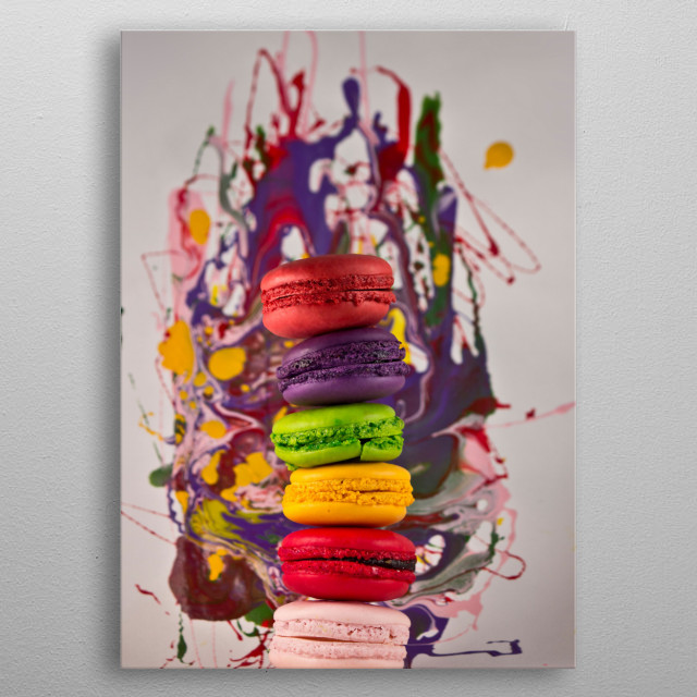 Splash of color with macarons metal poster