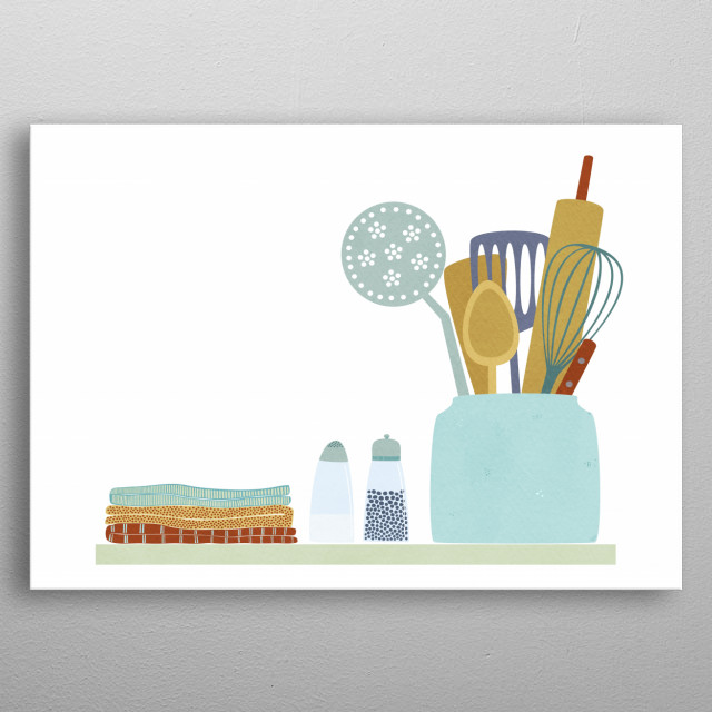 Illustration of a vintage kitchen shelf with folded tea towels, salt and pepper pots, and a jar full of cooking  equipment.  Get your bake on! metal poster
