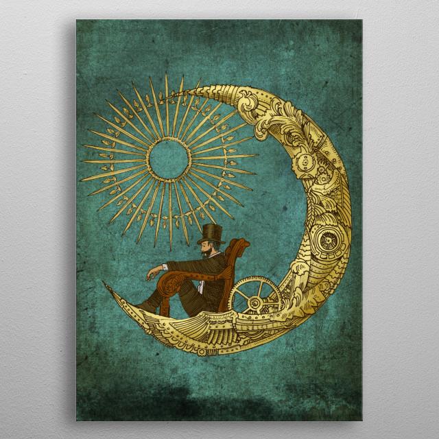 Moon Travel metal poster