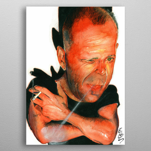 To produce caricature of Bruce Willis metal poster