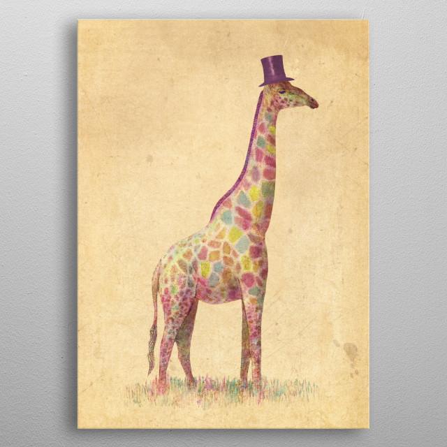 Fashionable Giraffe metal poster