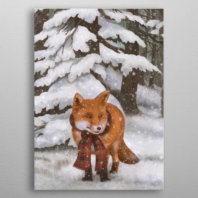 Winter Fox metal poster