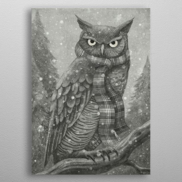 Winter Owl metal poster
