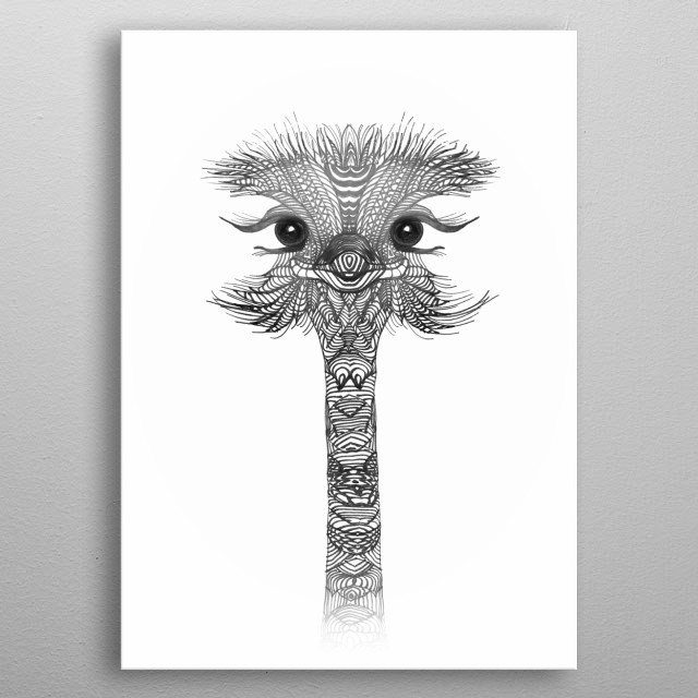 OSTRICH GIRL Black metal poster