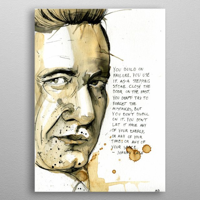 Johnny Cash painted with coffee and ink metal poster