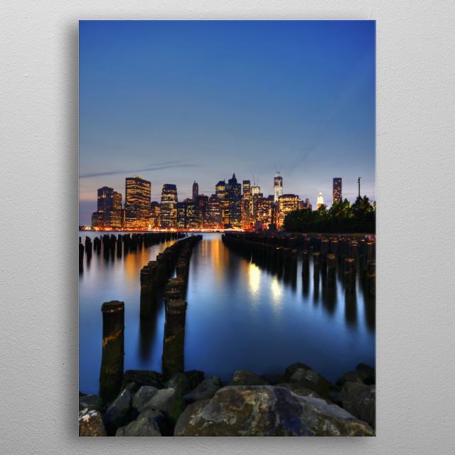 Manhattan as seen from Brooklyn at dusk. metal poster