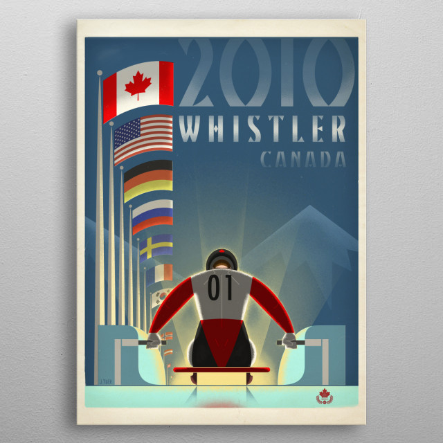 Graphic print of the 2010 Olympic Luge events in Whistler inspired by golden-age Italian travel posters, specifically those by Mario Puppo and A.M. Cassandre. metal poster