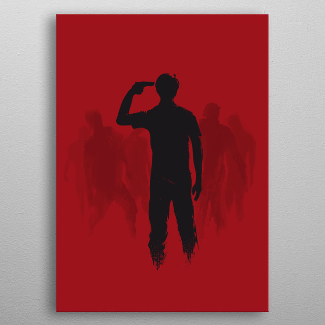 No Hope Left, a man trapped by zombies, vector illustration. metal poster