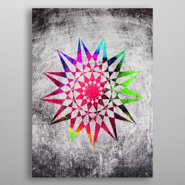 Colorful Trippy Star (vector) with Grunge background - I hope you like it! =) metal poster