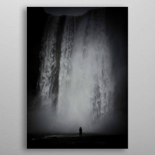 A solitary figure shows the scale of this waterfall in Southern Iceland metal poster