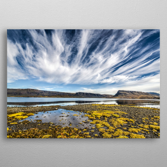 Incredible skies over Hvalfjörður, Vesterland, Icelan... metal poster