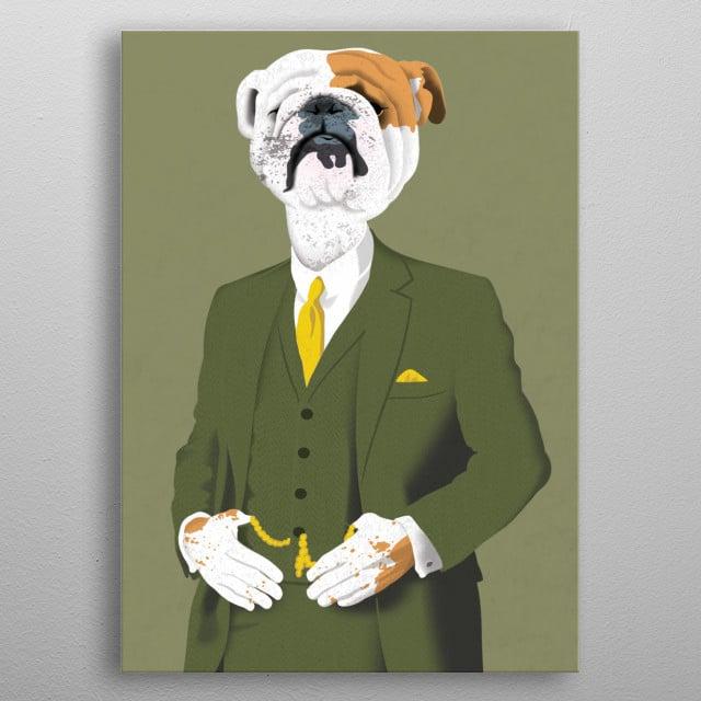 Refined English Bulldog metal poster
