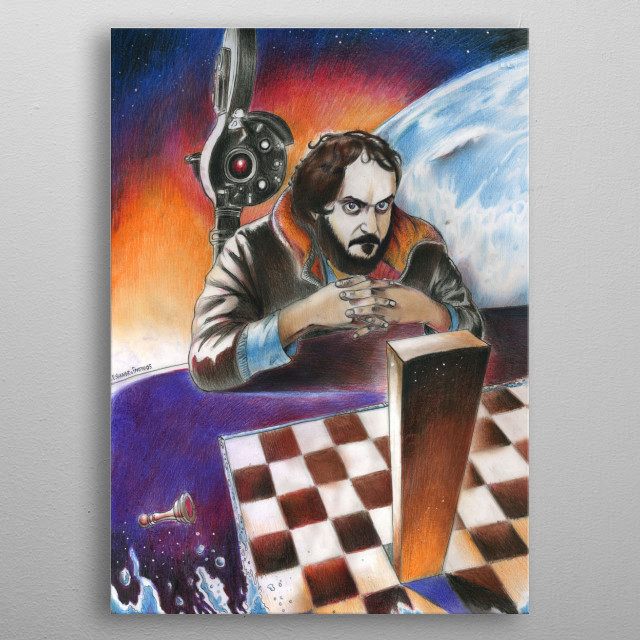 Alessandro Fantini, CHECK-LITH (Portrait of Stanley Kubrick) Pencil, pastel, acrylic and ink on cardboard, 2005 Kubrick's family collection, ... metal poster
