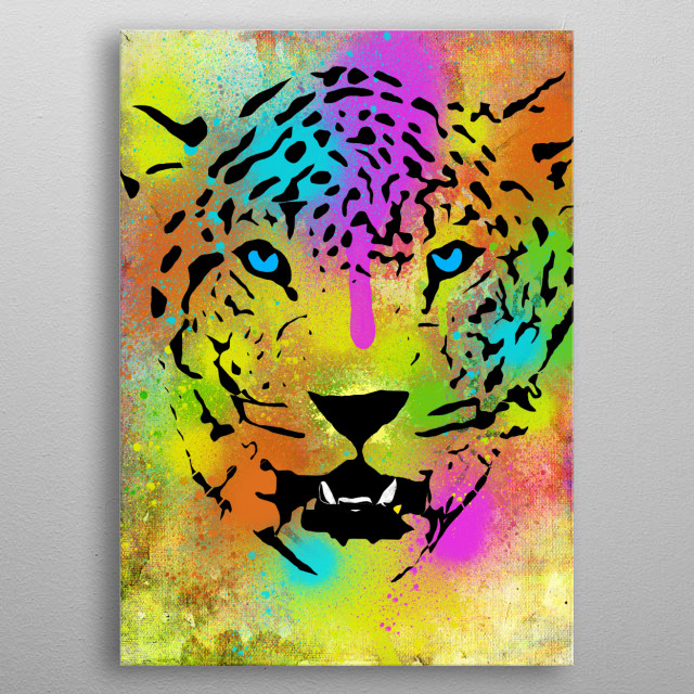 Colorful Tiger portrait with paint splatters (I love splatters, who doesn't!?) and canvas texture on the background to enhance the mood of the artwork. I hope you like it =) metal poster
