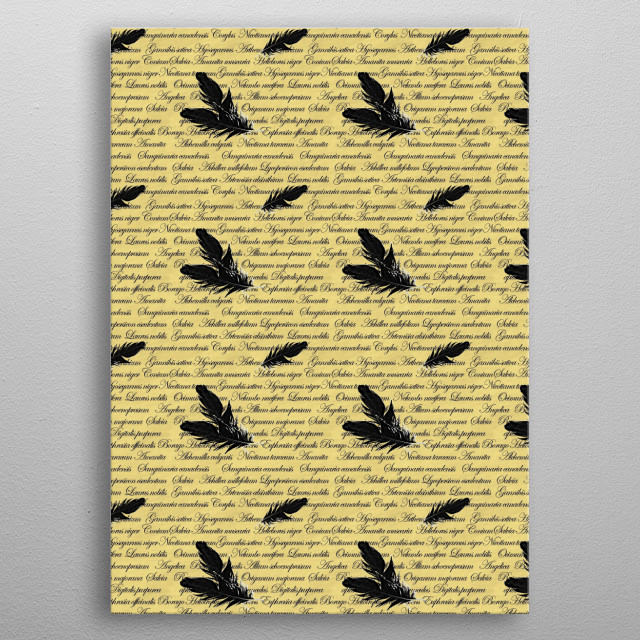Manuscript with Feathers metal poster