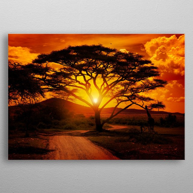 Sunset in Africa metal poster