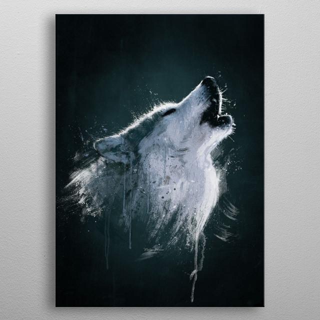 Alaskan Timber Wolf Digital oil painting. (Wild Series) metal poster