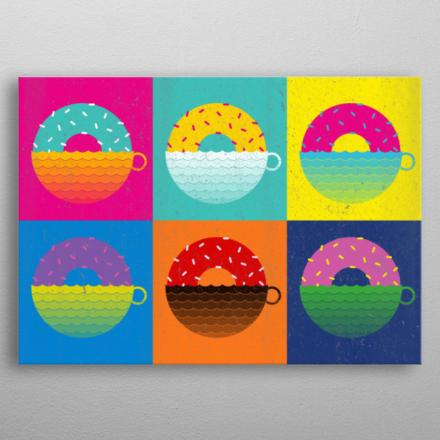 Coffee and Doughnut Sunrise metal poster