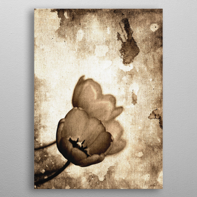 Vintage Flowers Sepia - Photo edition from colors to black and white, and sepia tones; also canvas texture to enhance the mood of the work and the feeling to the print. I hope you like it =) metal poster
