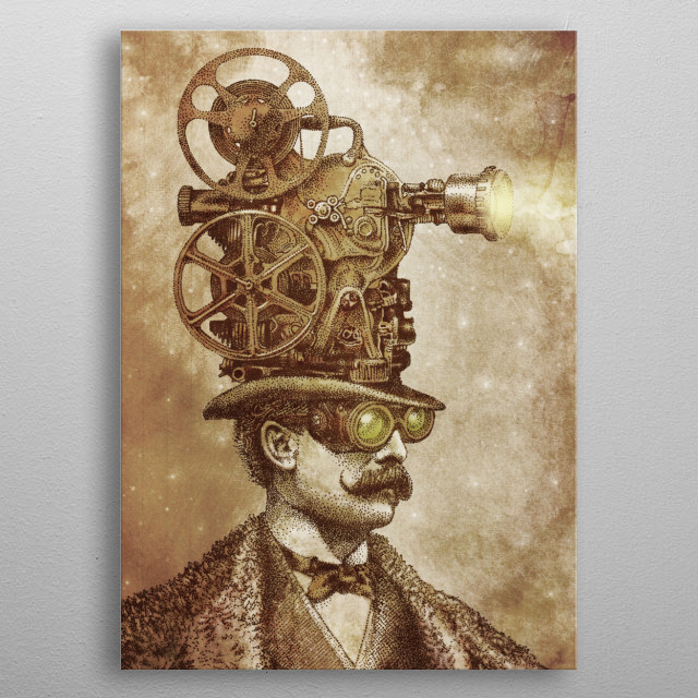 The Projectionist (sepia option) metal poster