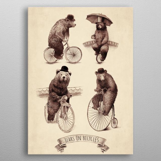 Bears on Bicycles metal poster
