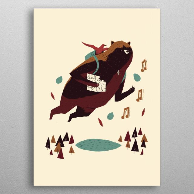 bear and bird metal poster