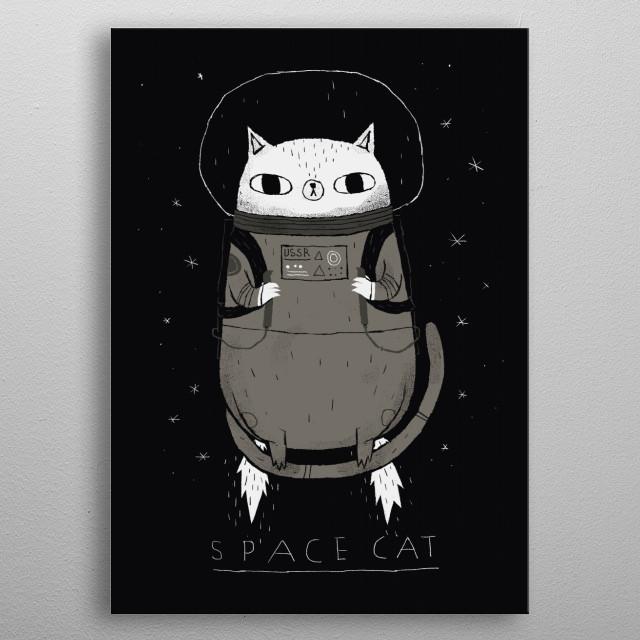 space cat metal poster