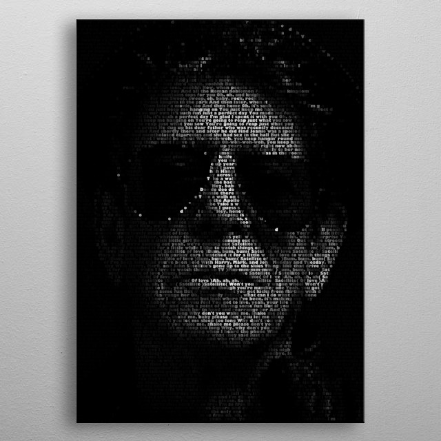 Lou Reed. Created from the lyrics of his album Transformer. metal poster