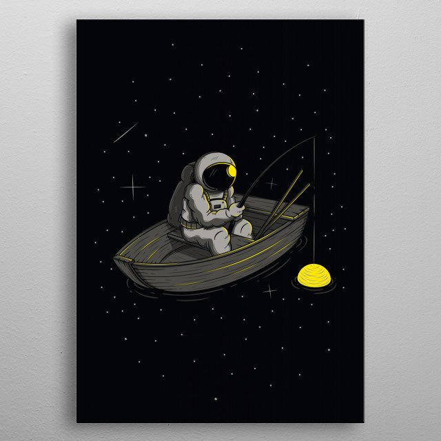Lonely fishing metal poster