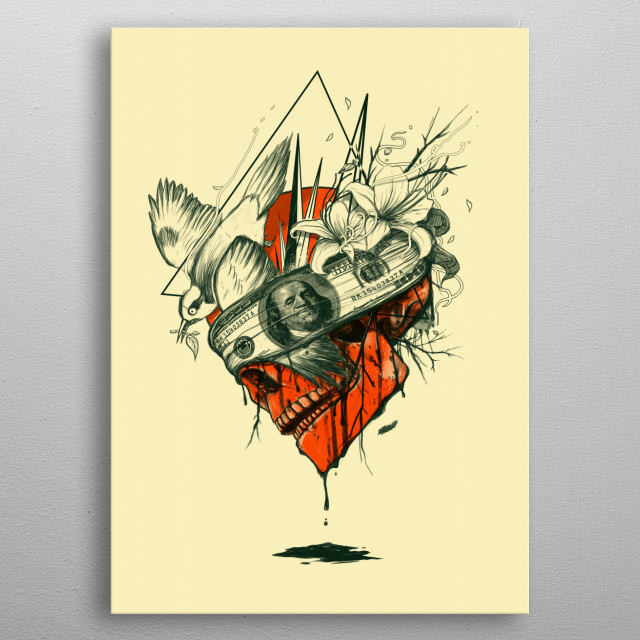 High-quality metal print from amazing Skulls collection will bring unique style to your space and will show off your personality. metal poster