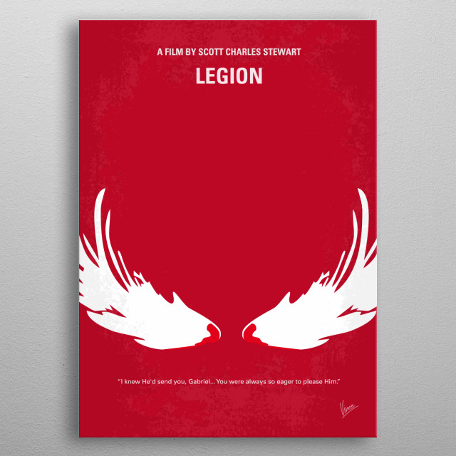 No050 My legion minimal movie poster  A group of strangers fight for the welfare of humanity.  Director: Scott Stewart Stars: Paul Bettany, D... metal poster