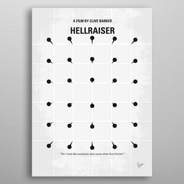 No033 My HELLRAISER minimal movie poster  An unfaithful wife encounters the zombie of her dead lover, who's being chased by demons after he e... metal poster