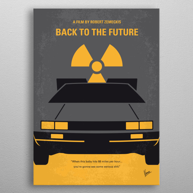 No183 My Back to the Future minimal movie poster part 1  A teenager is accidentally sent 30 years into the past in a time-traveling DeLorean invented by his friend, Dr. Emmett Brown, and must make sure his high-school-age parents unite in order to save his own existence.  Director: Robert Zemeckis Stars: Michael J. Fox, Christopher Lloyd, Lea Thompson  Back, to, the, Future, time, traveling, Marty, McFly, DeLorean, Emmett , Brown, 80s, DMC, Michael, Fox, OUTATIME, part, 1, 2, 3, I, II, III metal poster