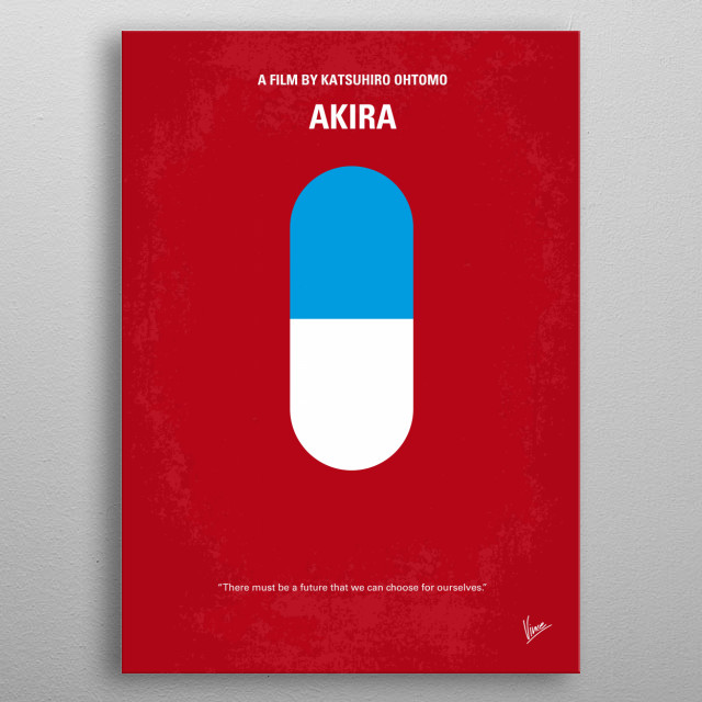 No144 My AKIRA minimal movie poster  A secret military project endangers Neo-Tokyo when it turns a biker gang member into a rampaging psionic... metal poster