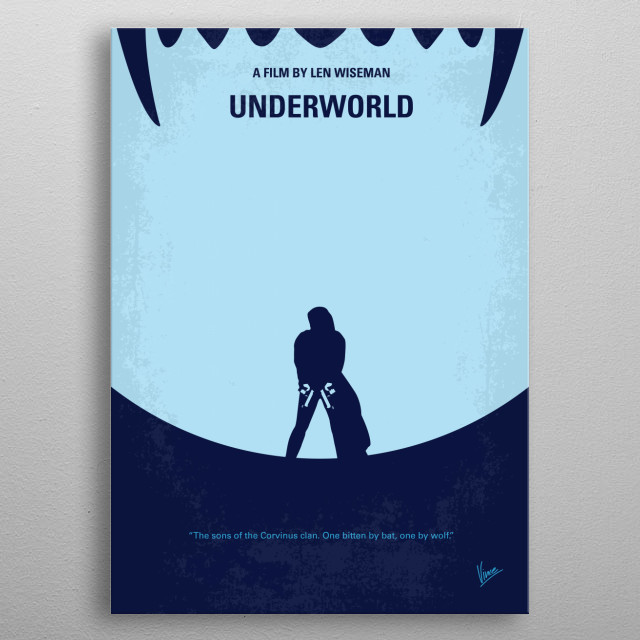No122 My UNDERWORLD minimal movie  Selene, a beautiful vampire warrior, is entrenched in a war between the vampire and werewolf races. Althou... metal poster