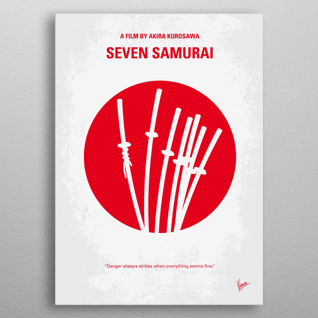 No200 My The Seven Samurai minimal movie poster  A poor village under attack by bandits recruits seven unemployed samurai to help them defend... metal poster