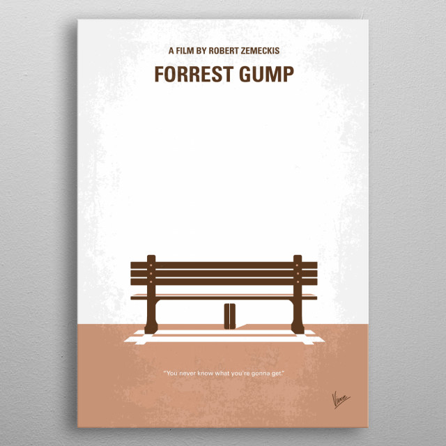 No193 My Forrest Gump minimal movie poster  Forrest Gump, while not intelligent, has accidentally been present at many historic moments, but ... metal poster