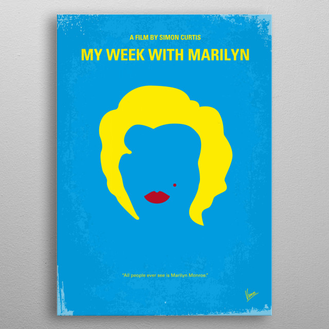 No284 My week with Marilyn minimal movie poster  Colin Clark, an employee of Sir Laurence Olivier's, documents the tense interaction between ... metal poster