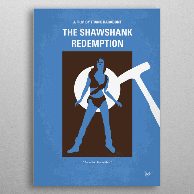 No246 My THE SHAWSHANK REDEMPTION minimal movie poster  Two imprisoned men bond over a number of years, finding solace and eventual redemptio... metal poster