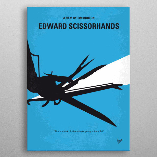 No260 My Scissorhands minimal movie poster  An uncommonly gentle young man, who happens to have scissors for hands, falls in love with a beau... metal poster