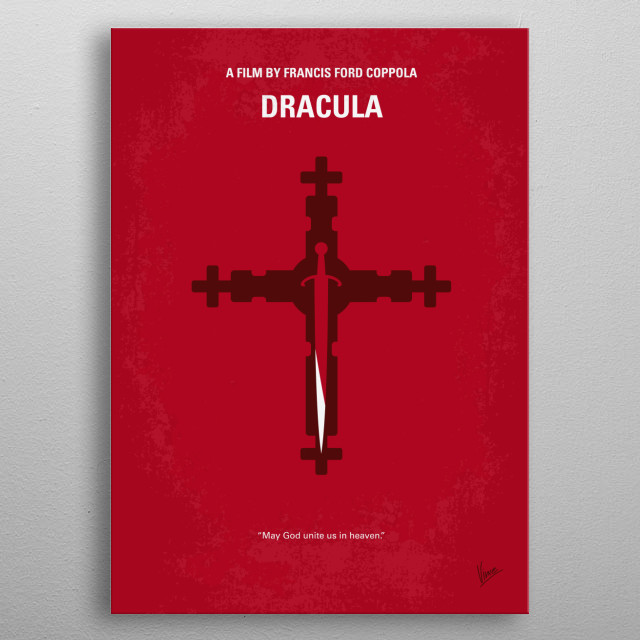 No263 My DRACULA minimal movie poster  The vampire comes to England to seduce a visitor's fiancée and inflict havoc in the foreign land.  Di... metal poster