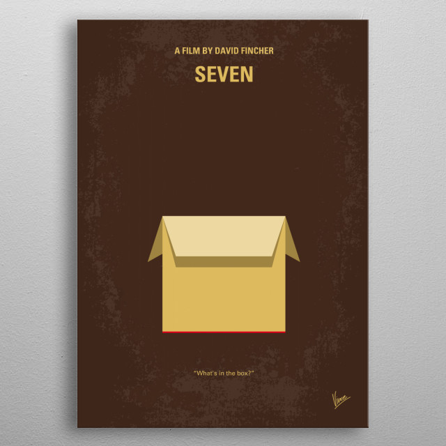 No233 My Seven minimal movie poster  Two detectives, a rookie and a veteran, hunt a serial killer who uses the seven deadly sins as his modus... metal poster