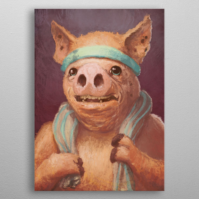 Smug Pig Loves to Work Out metal poster