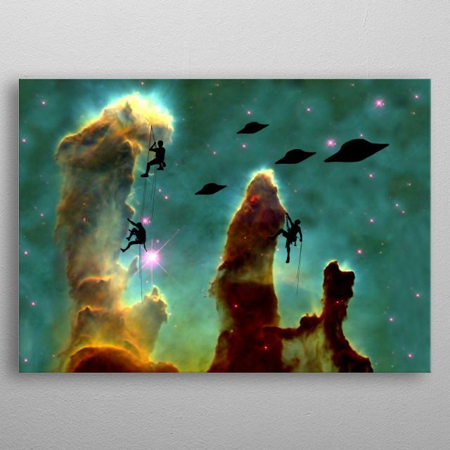 Cloud Climbing In Space metal poster